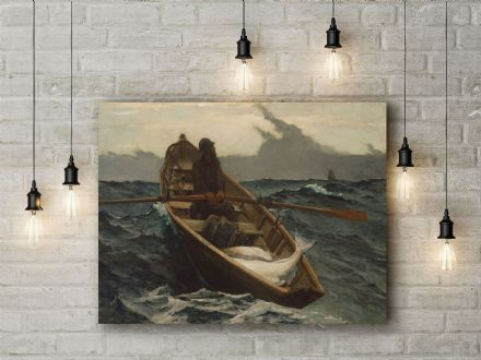 Winslow Homer: The Fog Warning Halibut Fishing. Fine Art Canvas.